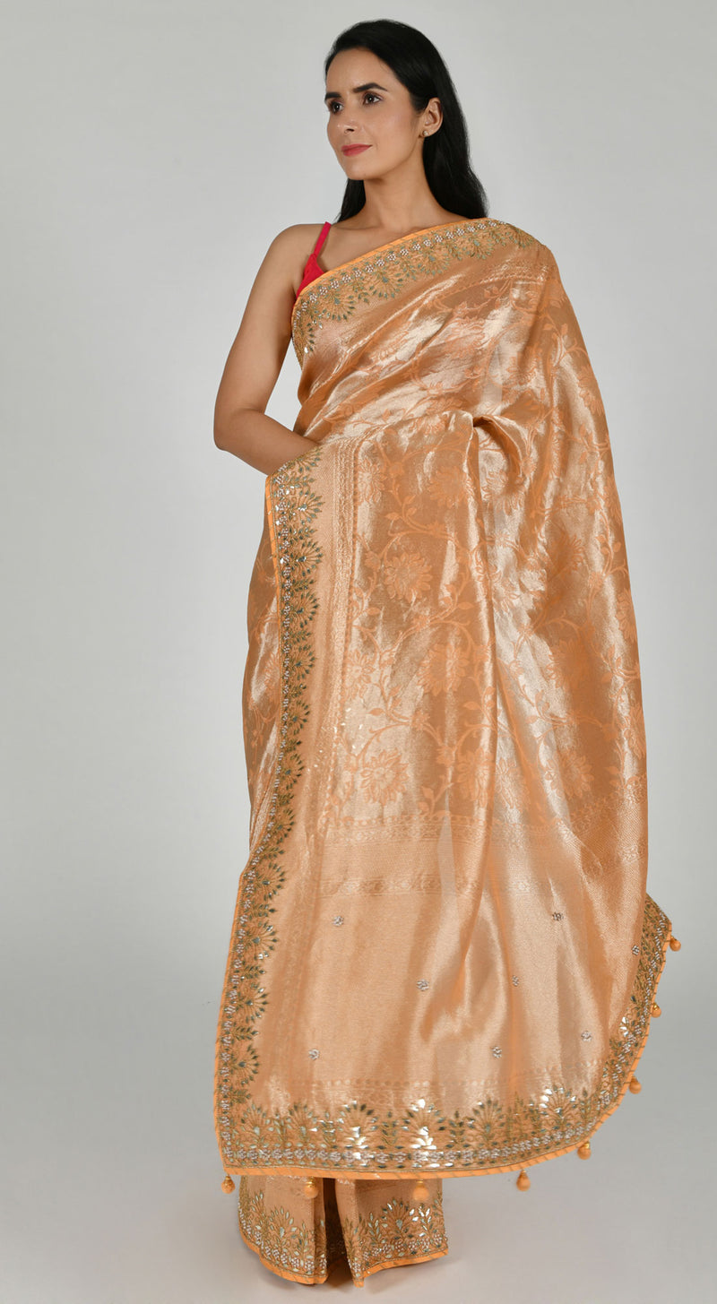 Peach Art Tussar Silk Saree with Unstitched Blouse