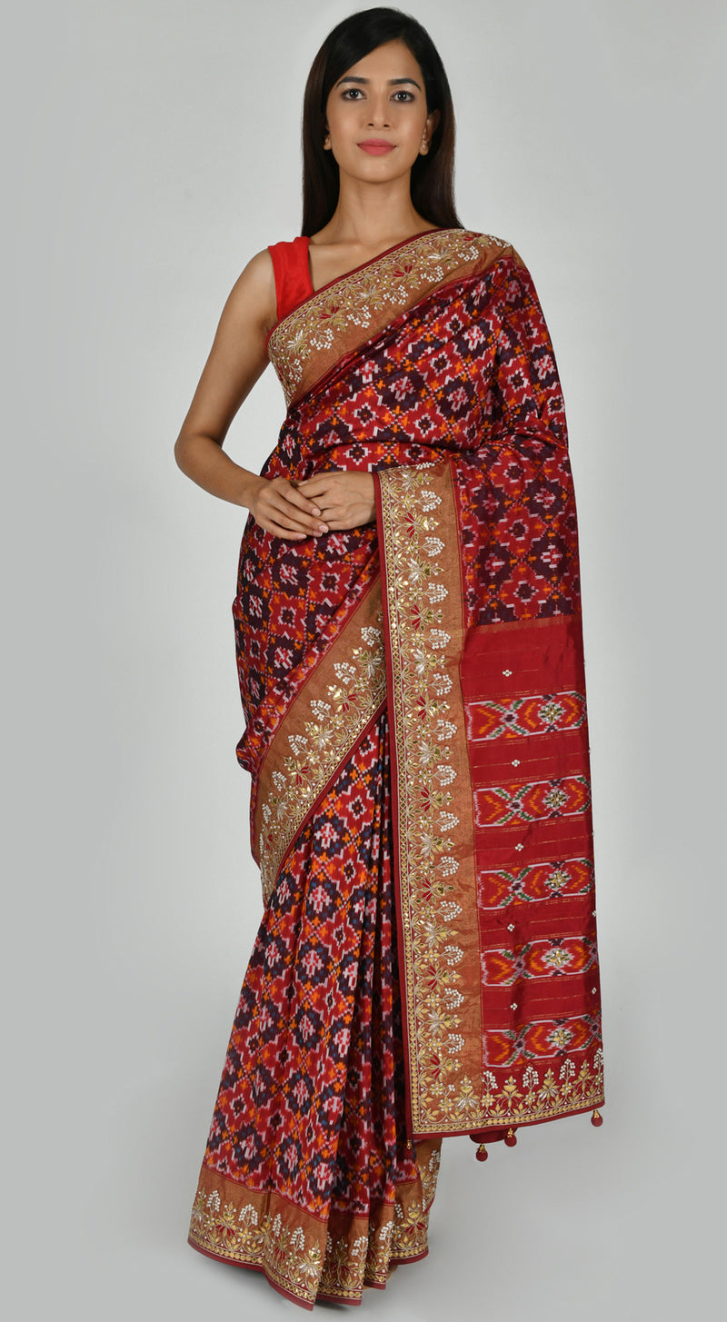 Rust Patola Silk Saree with Unstitched Blouse
