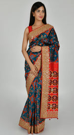 Blue Patola Silk Saree with Unstitched Blouse