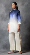 Dual Shift Ombre High Low Kurta - Blue