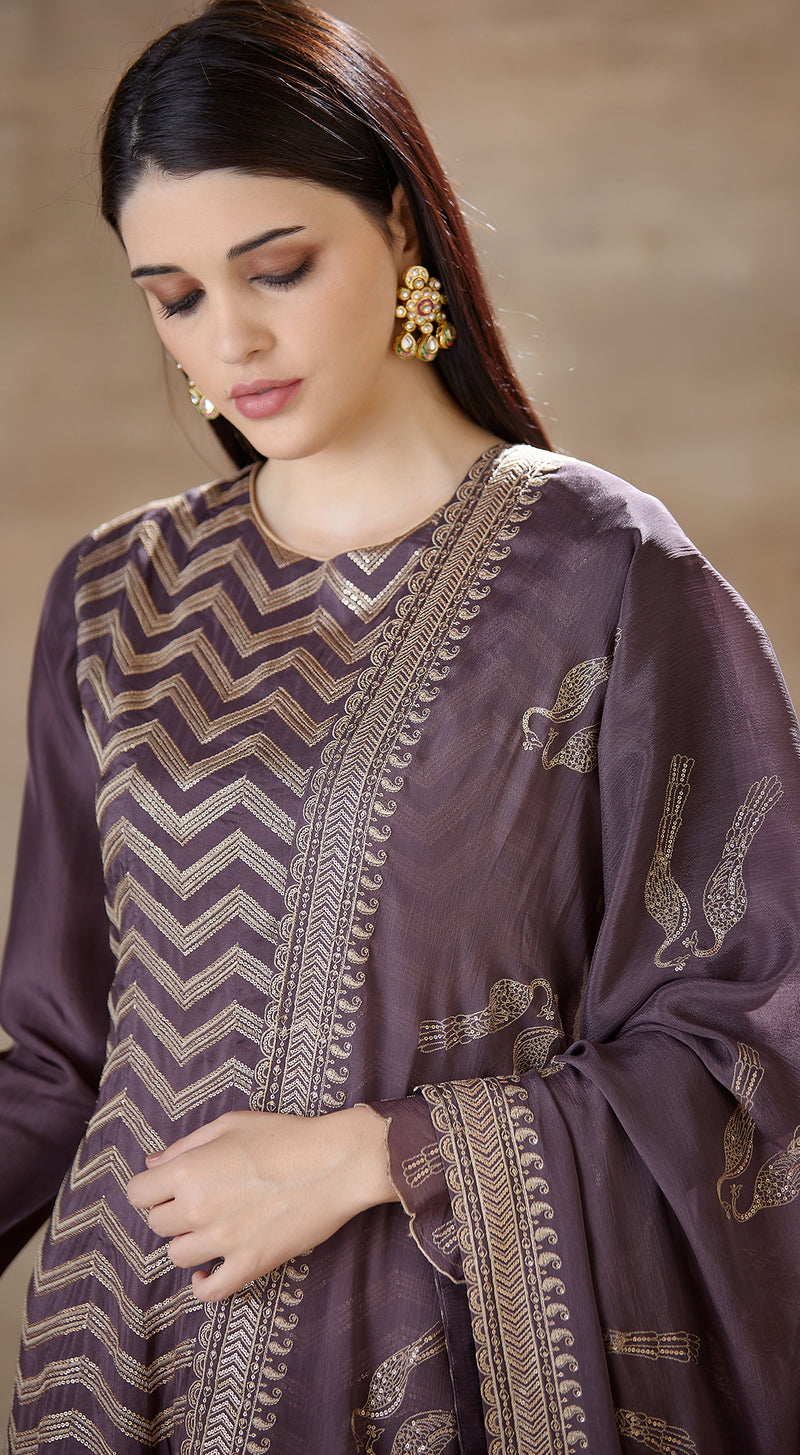 Purple embroidered sharara set