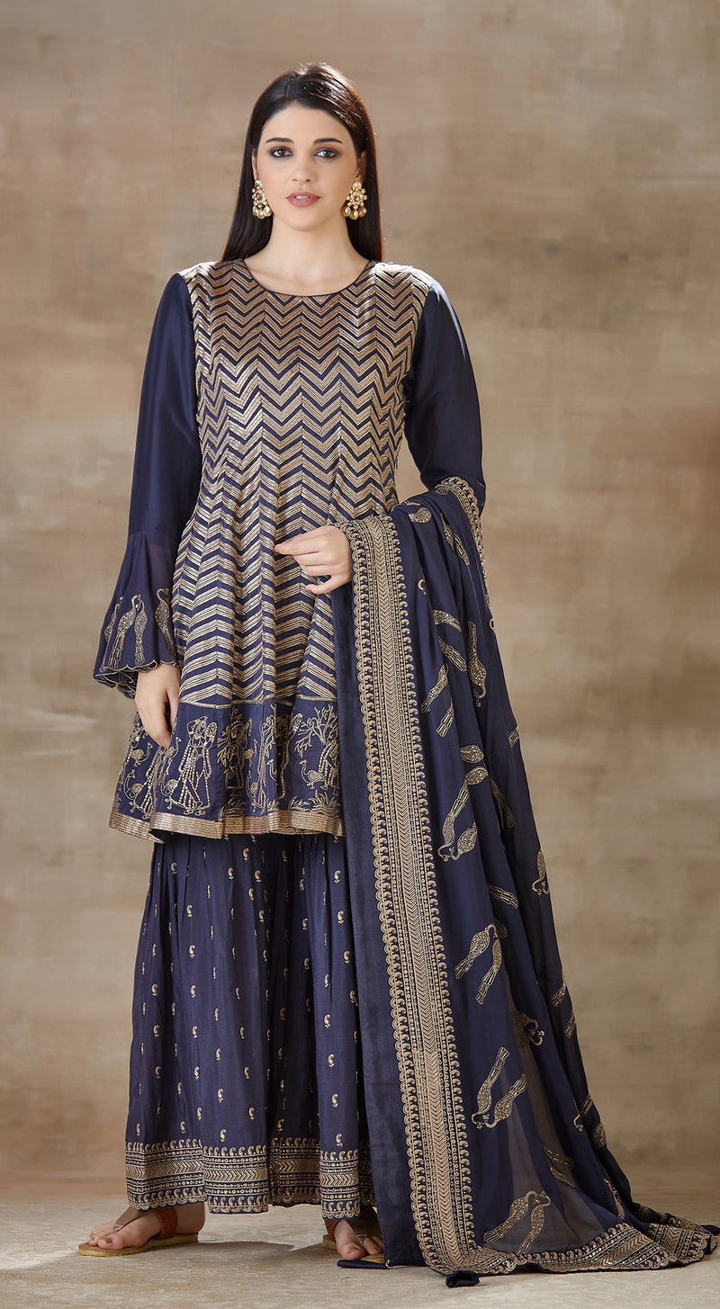 Blue embroidered sharara set