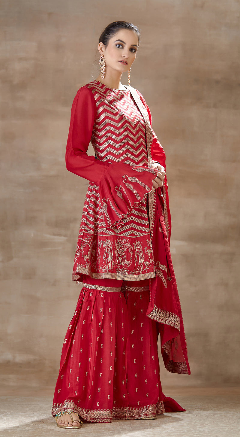 Red embroidered sharara set