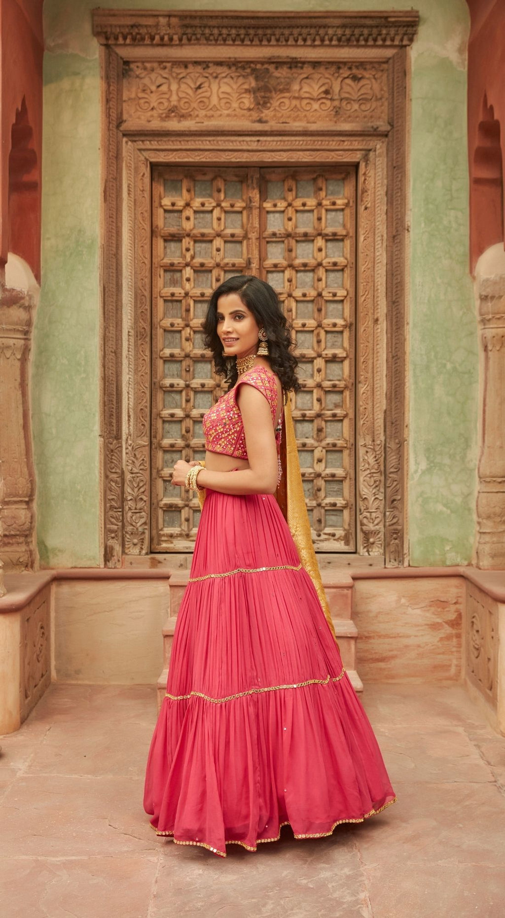 Embroidered Chinnon Magenta Lehenga Set