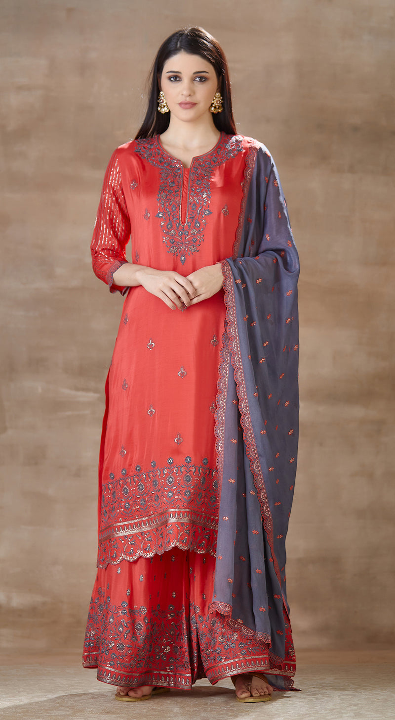 Red sharara suit with navy blue embroidered dupatta
