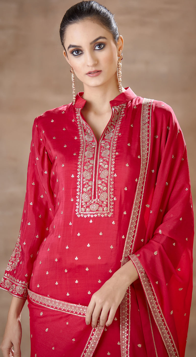 Pink sharara suit with embroidered dupatta