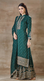 Bottle green sharara suit with embroidered dupatta