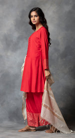 Plazo Set With Embroidered Banarsi Dupatta - Red