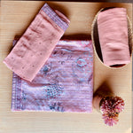 Unstitched Kurta Set with Dupatta-Pink