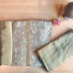 Unstitched Printed Kurta Set with Dupatta - Olive Green