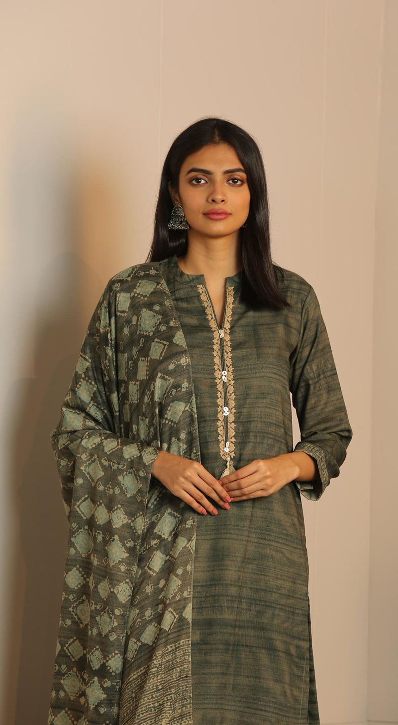 Unstitched Kurta set with Printed dupatta