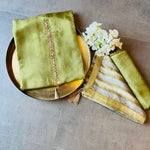 Upada kurta set with floral dupatta - GREEN