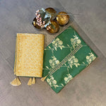 Green Banarasi Unstitched Suit Set-green