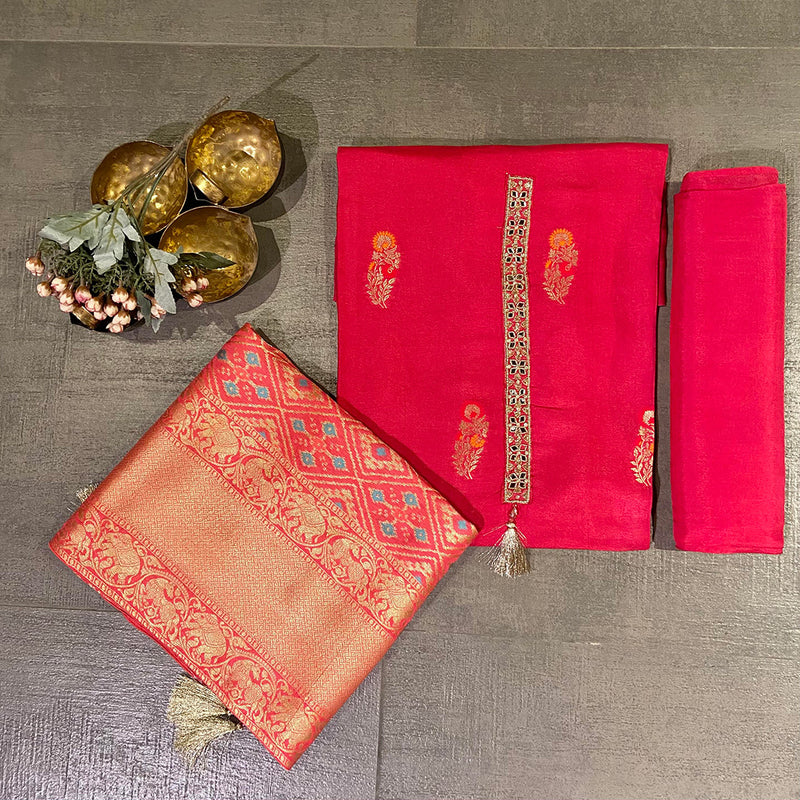 Unstitched Upada Silk Suit Set With Banarasi Dupatta- Pink-Pink