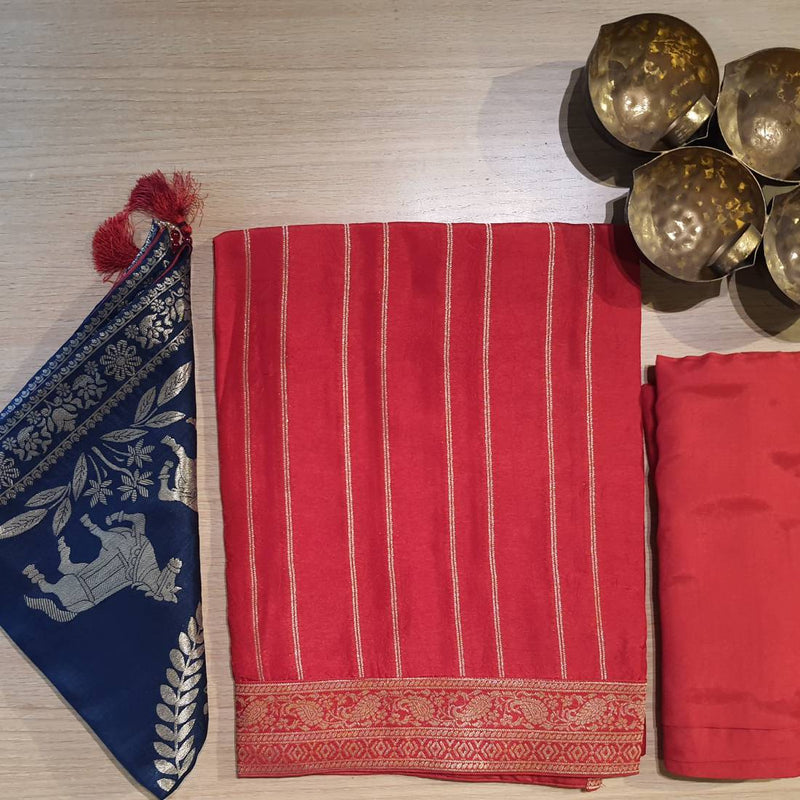 Unstitched Banarasi Kurta Set With Dupatta - Red