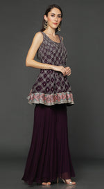 Purple Short Anarkali Suit Set