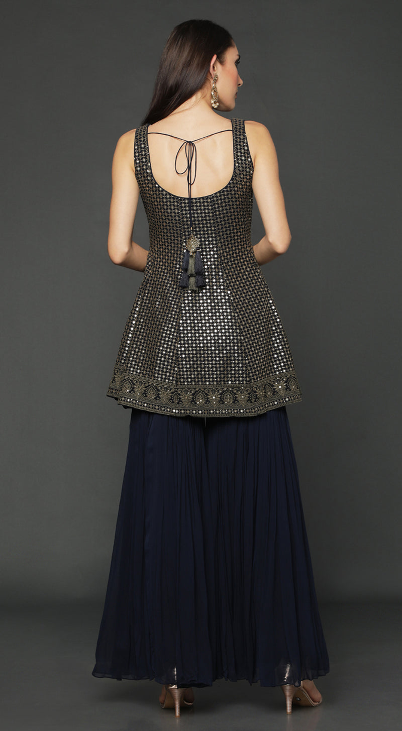 Navy Blue Short Anarkali Suit Set
