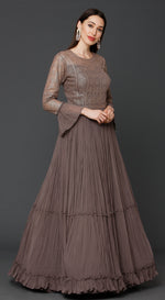 Peanut Brown Floor Length Anarkali