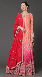 Ombre Red Floor Length Anarkali Suit Set