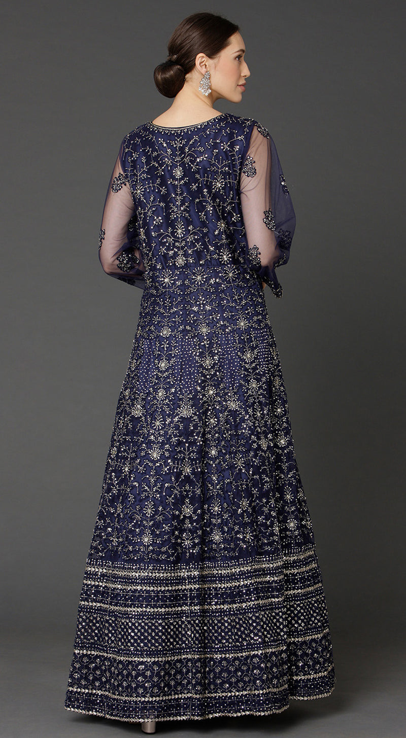 Navy Blue Floor Length Anarkali Suit Set