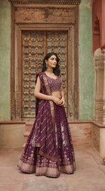 Mirror Embroidered Banarasi Wine Lehenga Set
