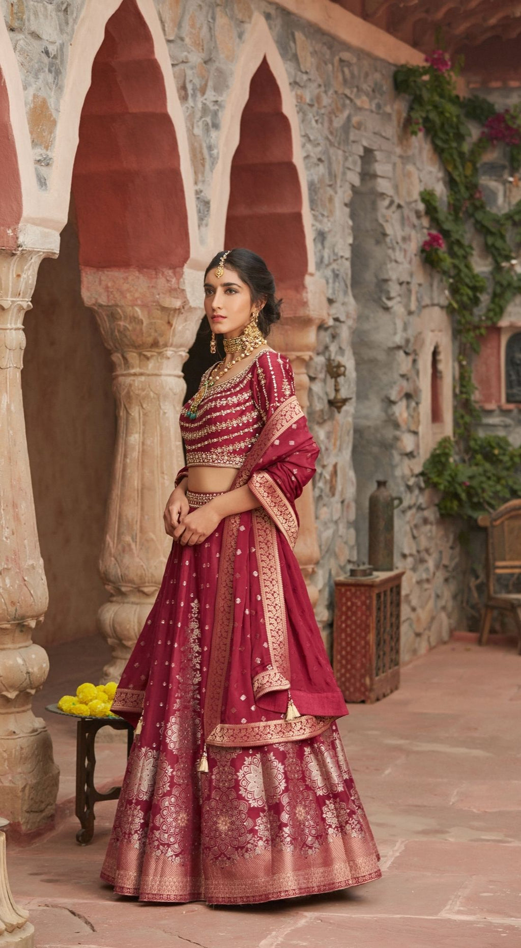 Embroidered Banarasi Maroon Lehenga Set