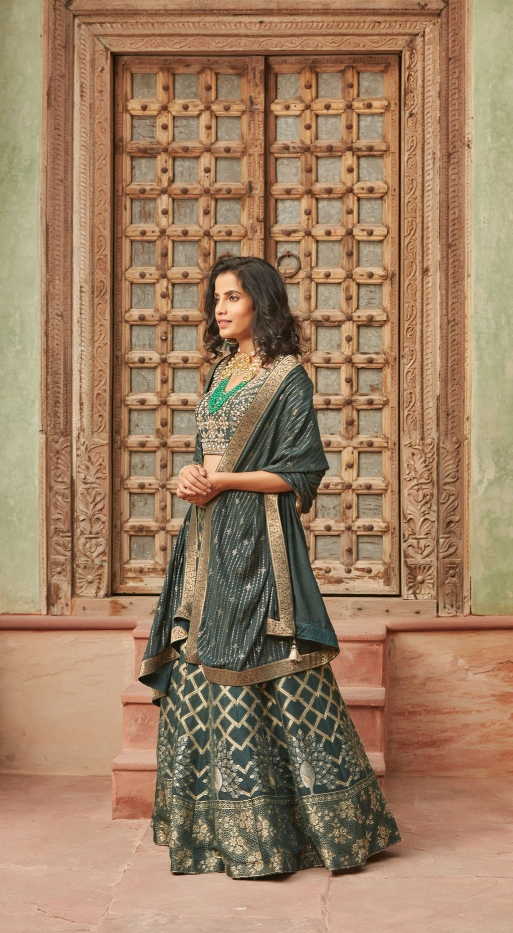 Embroidered Banarasi Green Lehenga Set