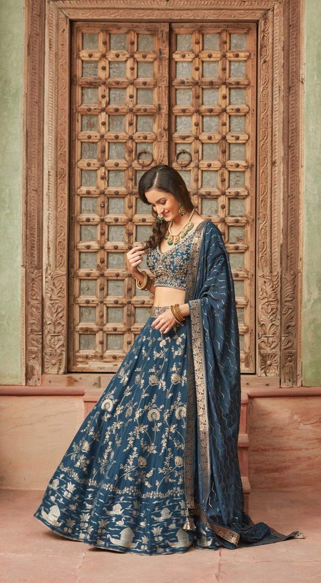 Embroidered Banarasi Blue Lehenga Set