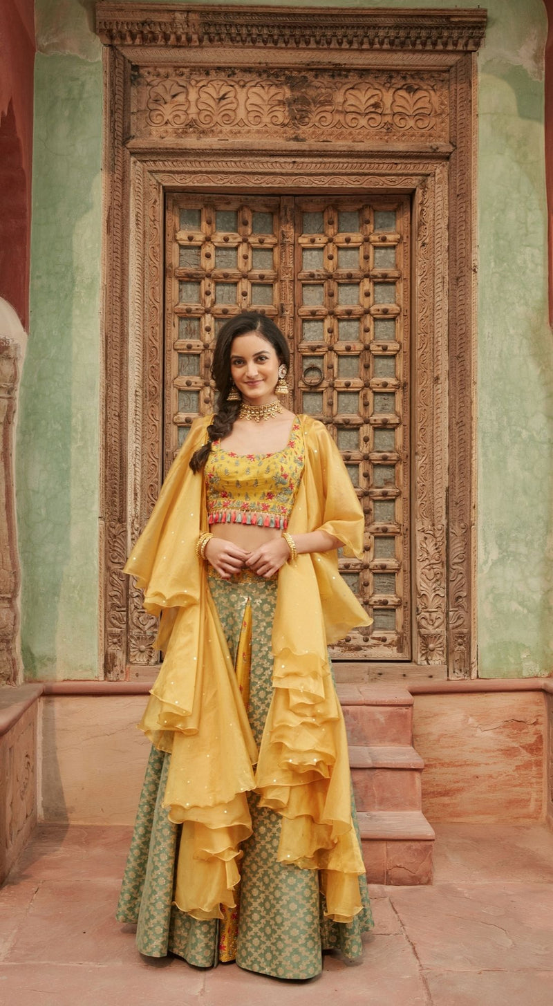 Embroidered Banarasi Yellow Lehenga Set