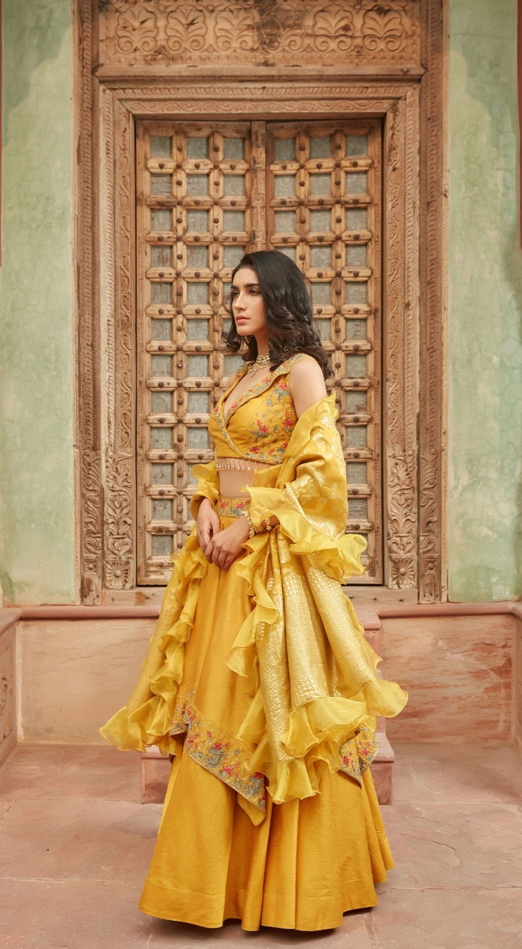 Citrus Raw Silk Yellow Lehenga Set