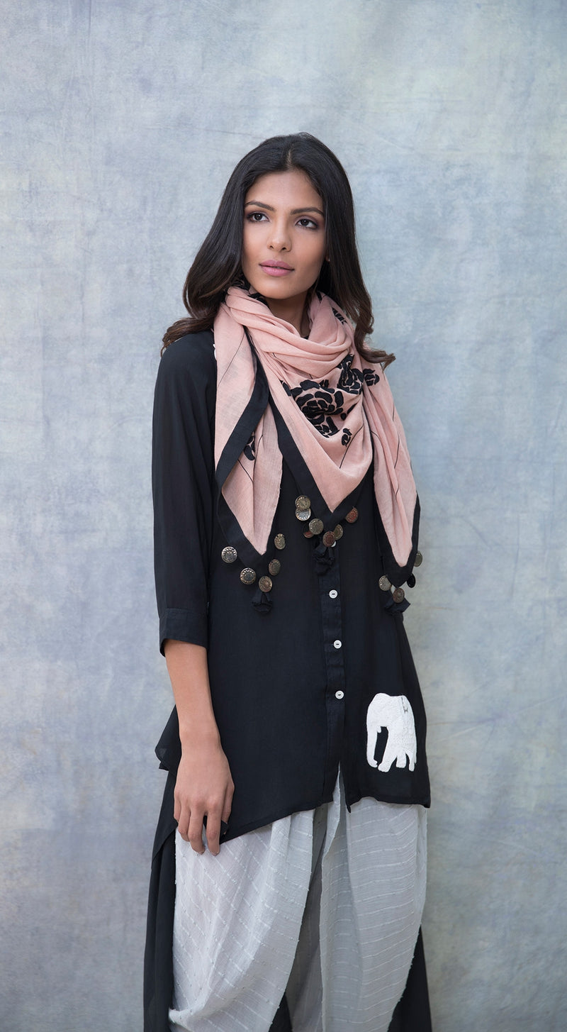 Scarf with embroidered black roses along with coin & tassel detailing