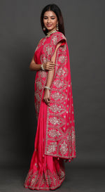 Pink Silk Saree with Gota Work and Unstitched Blouse