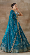 Teal Blue Banarsi embroidered lehenga set