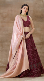 Wine lucknowi blouse with lucknowi lehenga with baby pink banarsi dupatta.
