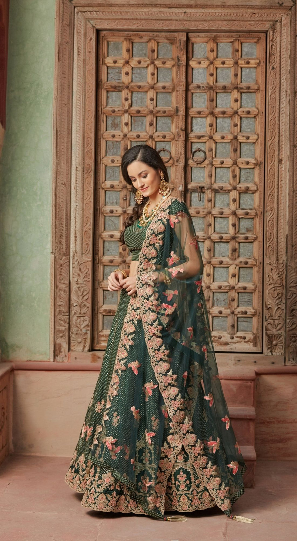 Bird Motif Net Green Lehenga Set