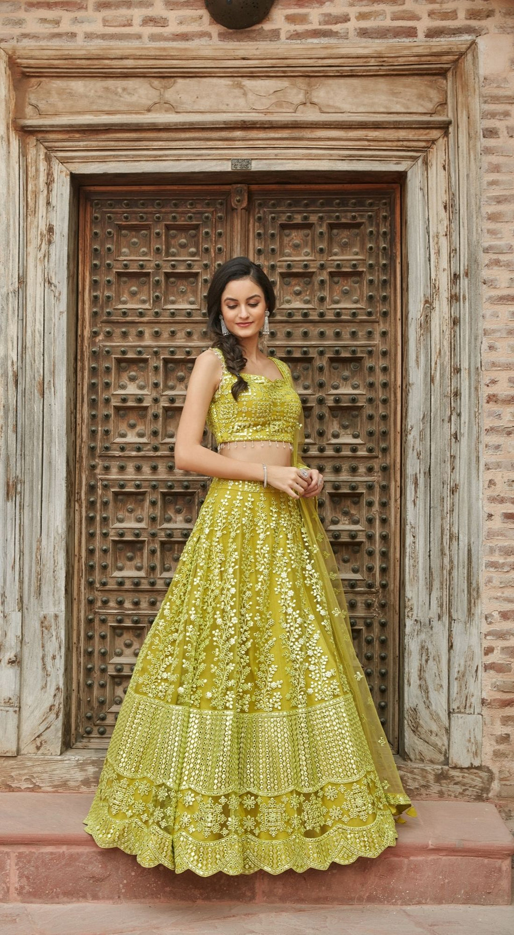 Thread Embroidered Net Green Lehenga Set