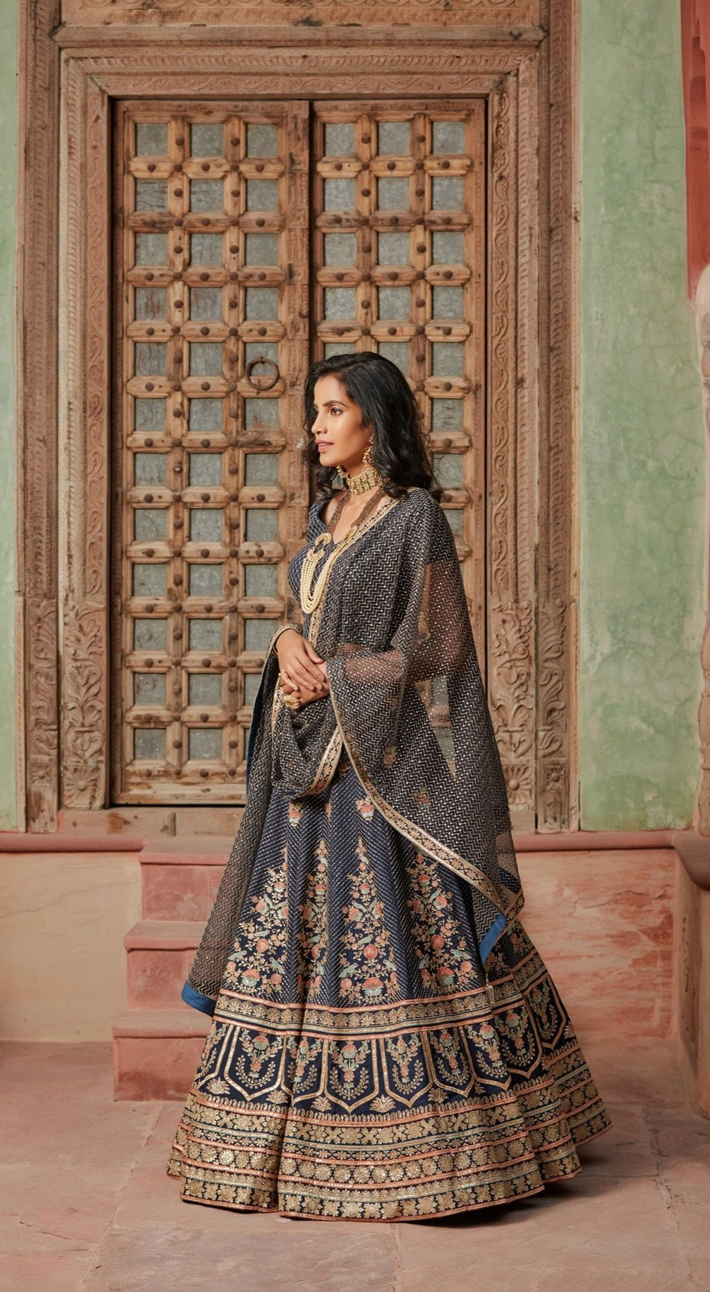 Sequins Embellished Net Charcoal Lehenga Set