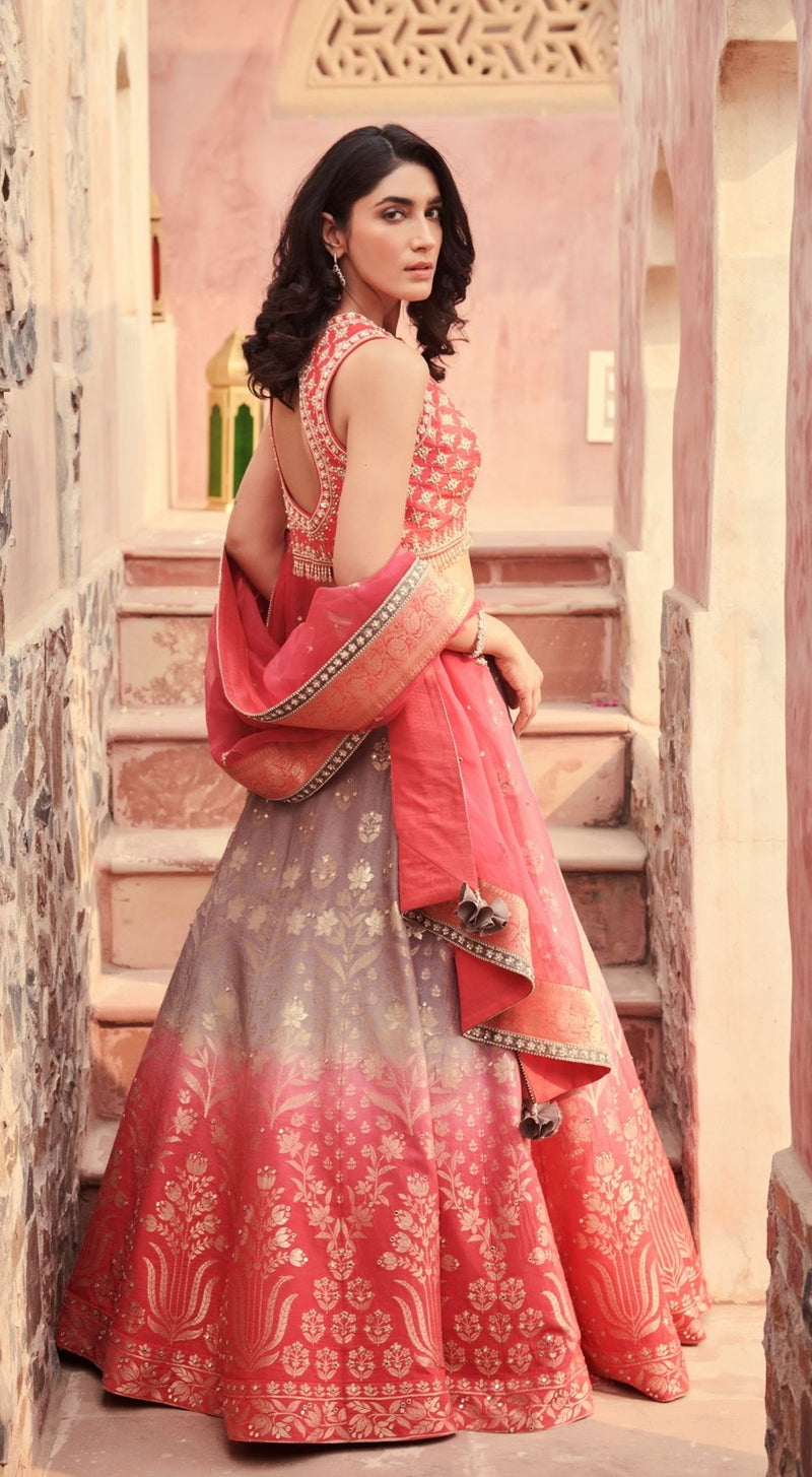 Embroidered Banarasi Pink Lehenga Set