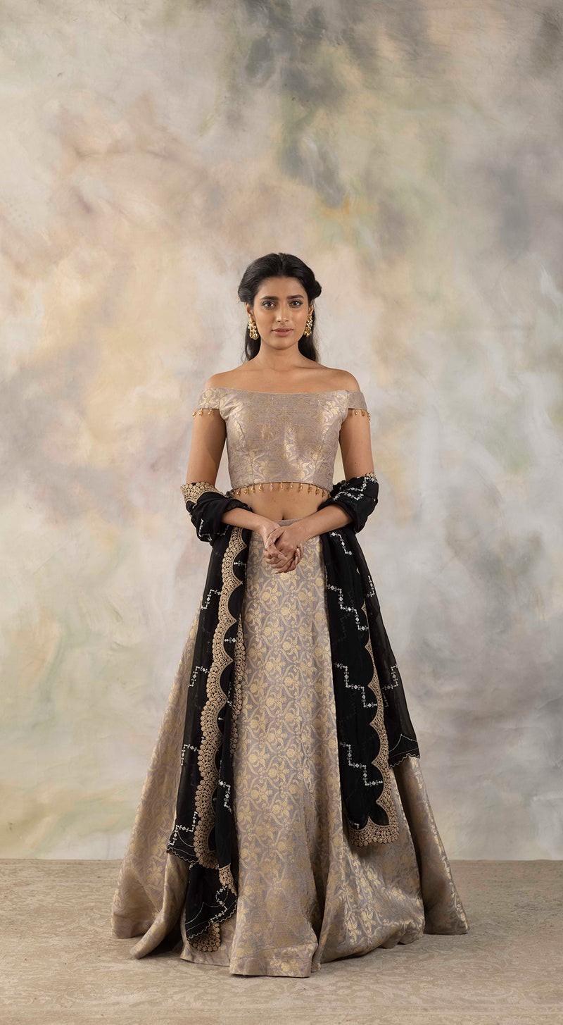 Grey Off-Shoulder Banrasi Lehenga Set