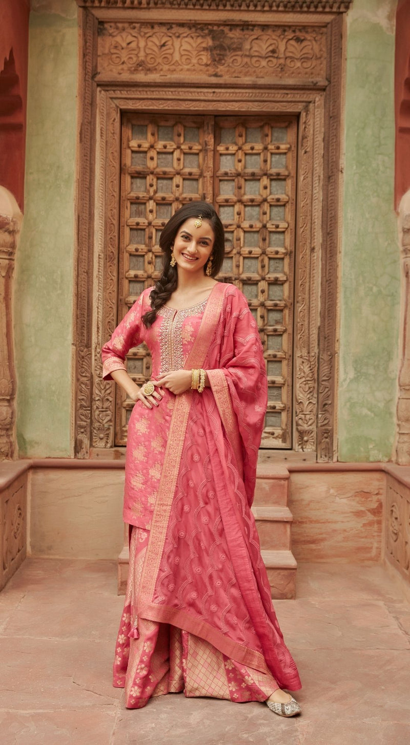 Mirror Embroided Banarasi Pink Sharara Set