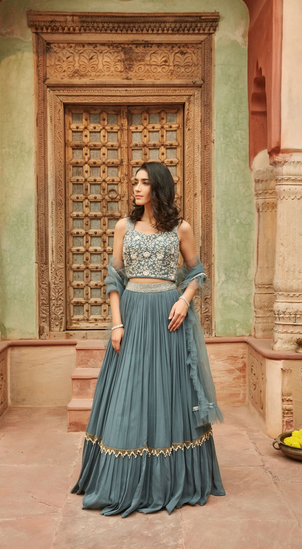 Embroidered Chinnon Grey Lehenga Set