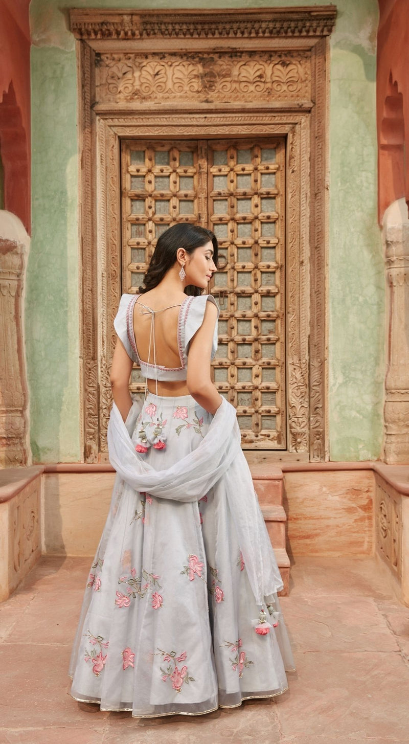 Soft Pastel Organza Off White Lehenga Set