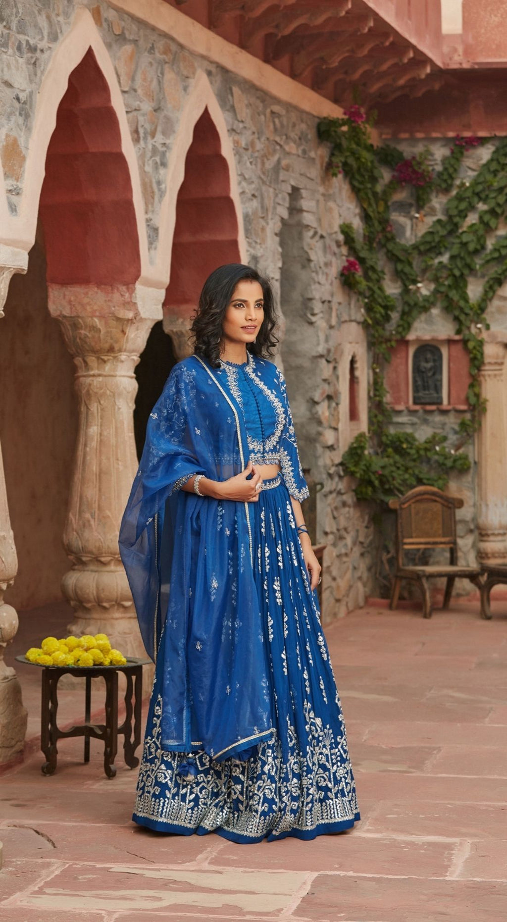 Long Choli Cut Blue Lehenga Set