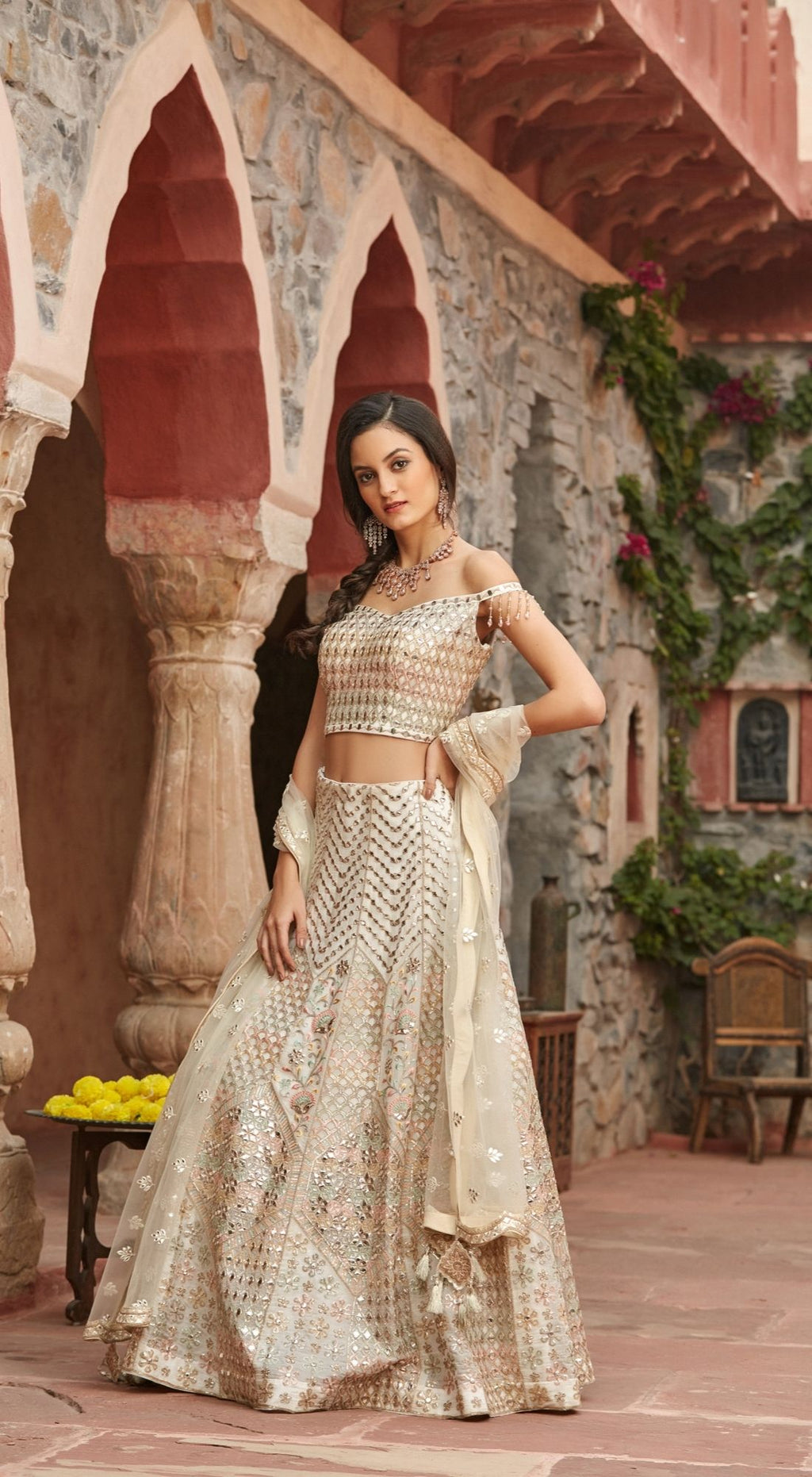 Self Embroidered Ivory Lehenga Set