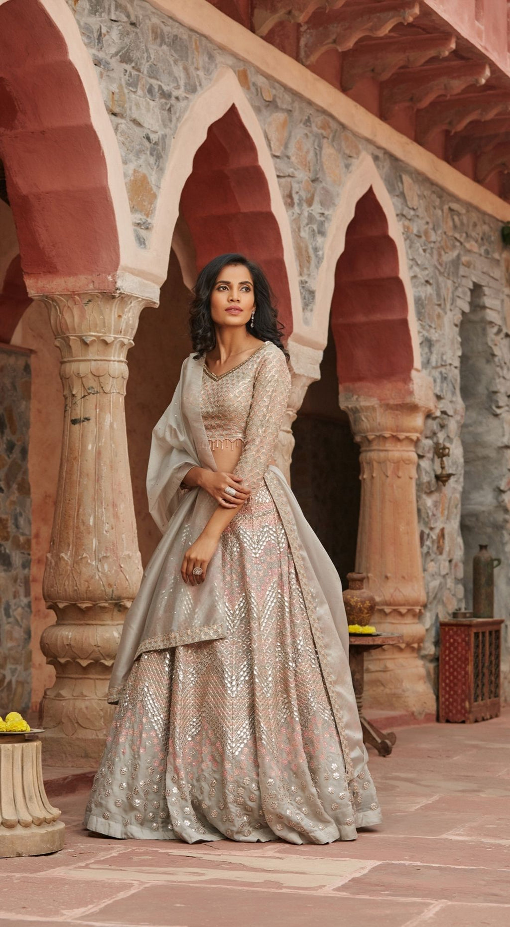 Ivory Organza Off White Lehenga Set