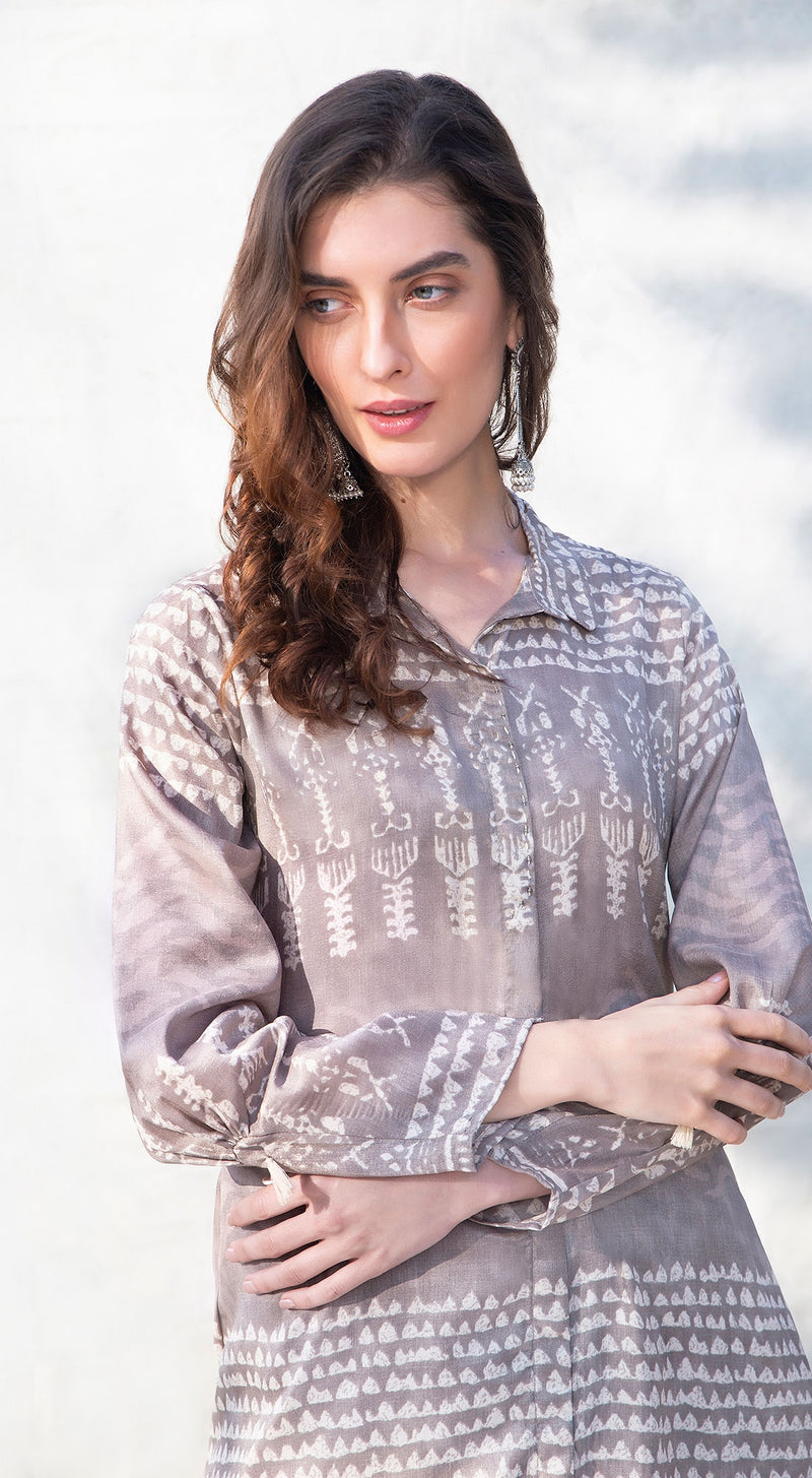 Tribal print A-line collar kurta with dhoti