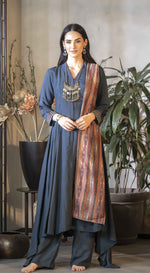 A line kurta with bead emb and printed dupatta
