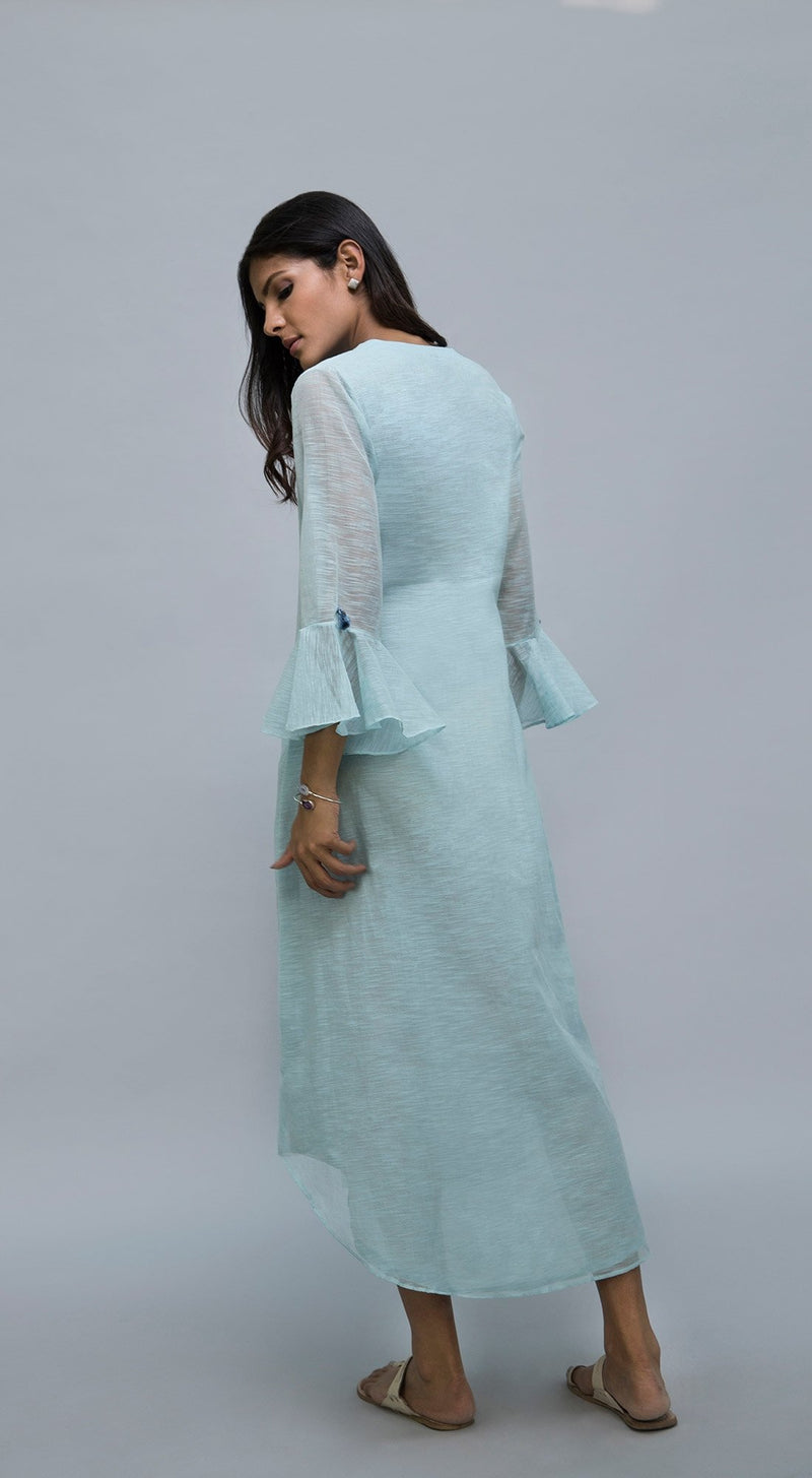 Thread tree embroidered tunic with bell sleeves