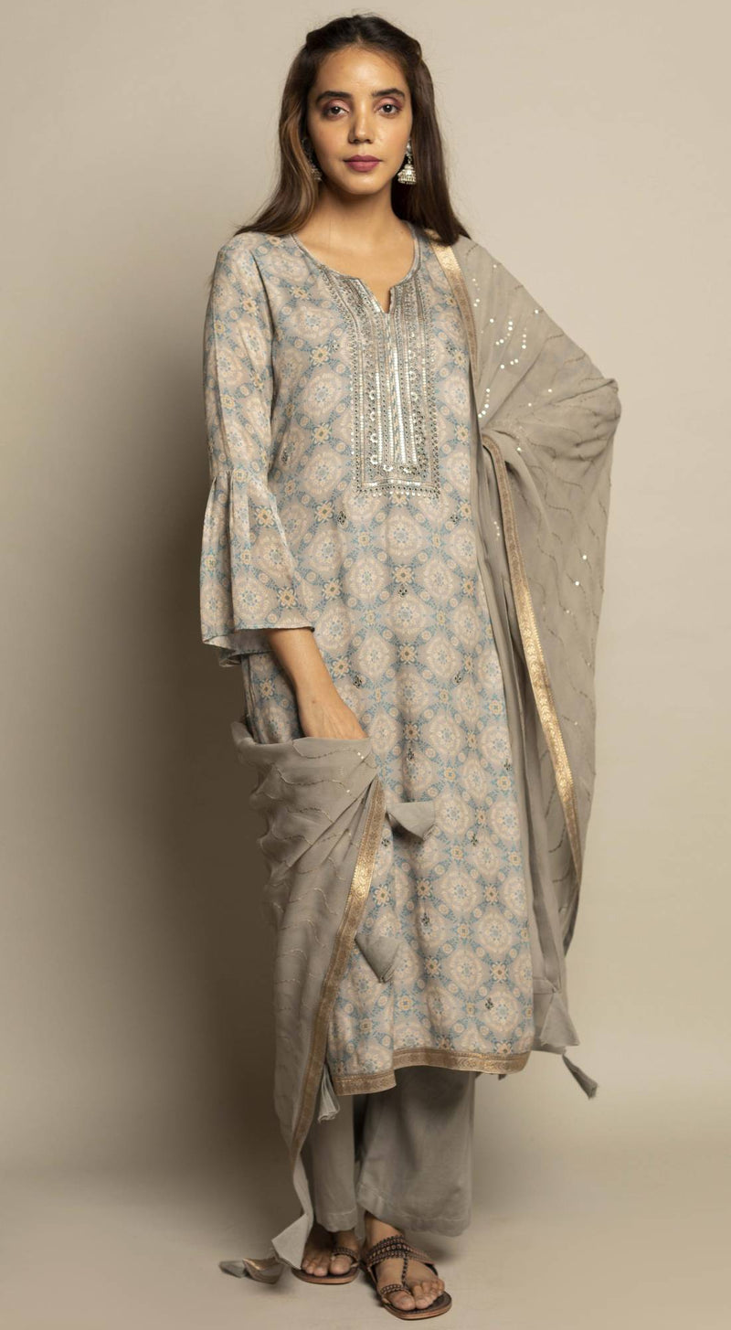 Unstitched Printed Kurta Set with Dupatta