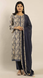 Unstitched Printed Kurta Set with Aari Embriodery Dupatta